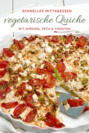vegetarische Gemüse-Quiche mit Wirsing und Feta. Vegane Variante möglich. Rezept von einfachstephie.de