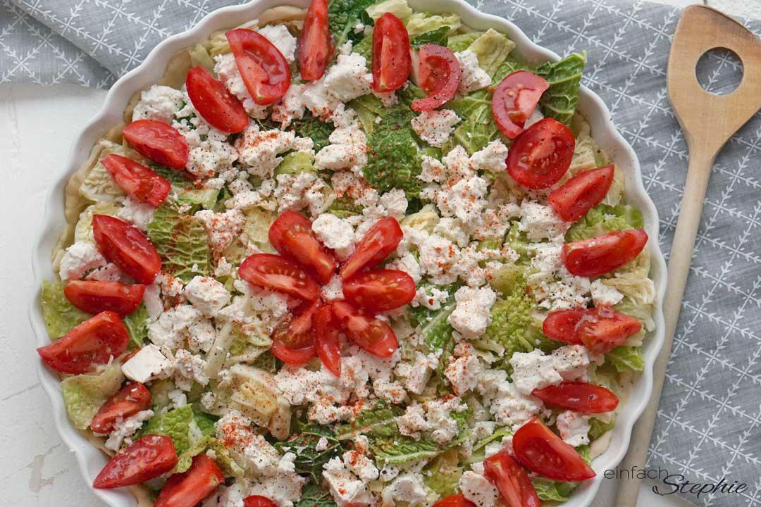 vegetarische Quiche mit Schafskäse und Wirsing
