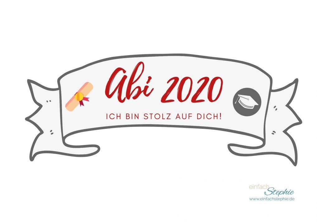 Kuchenbanner Abi 2020 Ich bin stolz auf dich (rot)