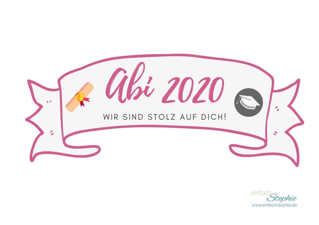 Kuchenbanner Caketopper Abi 2020 Wir sind stolz auf dich (pink)