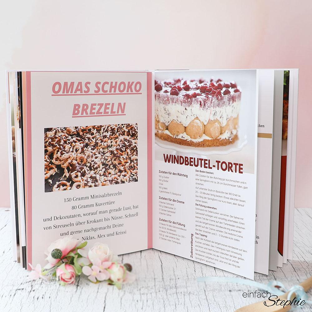 Geschenkidee zum runden Geburtstag. Kochbuch selber machen mit einfachstephie
