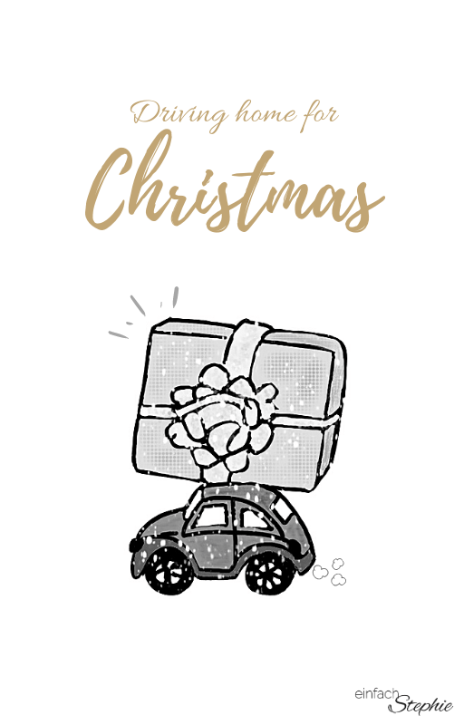 WhatsApp Weihnachtsgrüße Weihnachtskarte 2020 kostenloser Download. Driving home Weihnachtsauto mit Geschenk