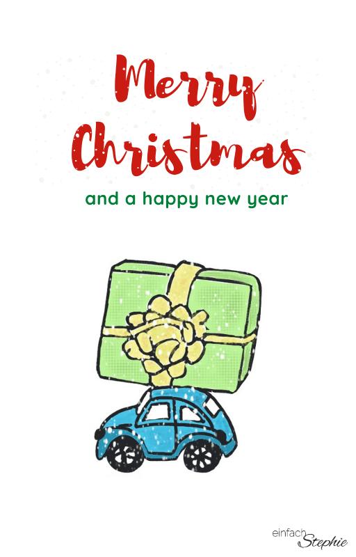 WhatsApp Weihnachtsgrüße Weihnachtskarte 2020 kostenloser Download. Weihnachtsauto mit Geschenk